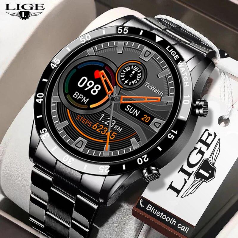 ליגע חדש גברים חכם שעון קצב לב לחץ דם IP68 עמיד למים ספורט כושר שעון יוקרה חכם שעון זכר עבור iOS אנדרואיד
