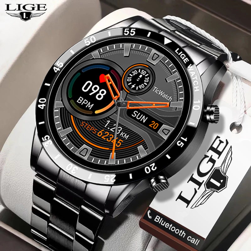 LIGE New Men Smart watch Heart rate Blood pressure IP68 waterproof sports Fitness watch Luxury Smart watch male for iOS Android