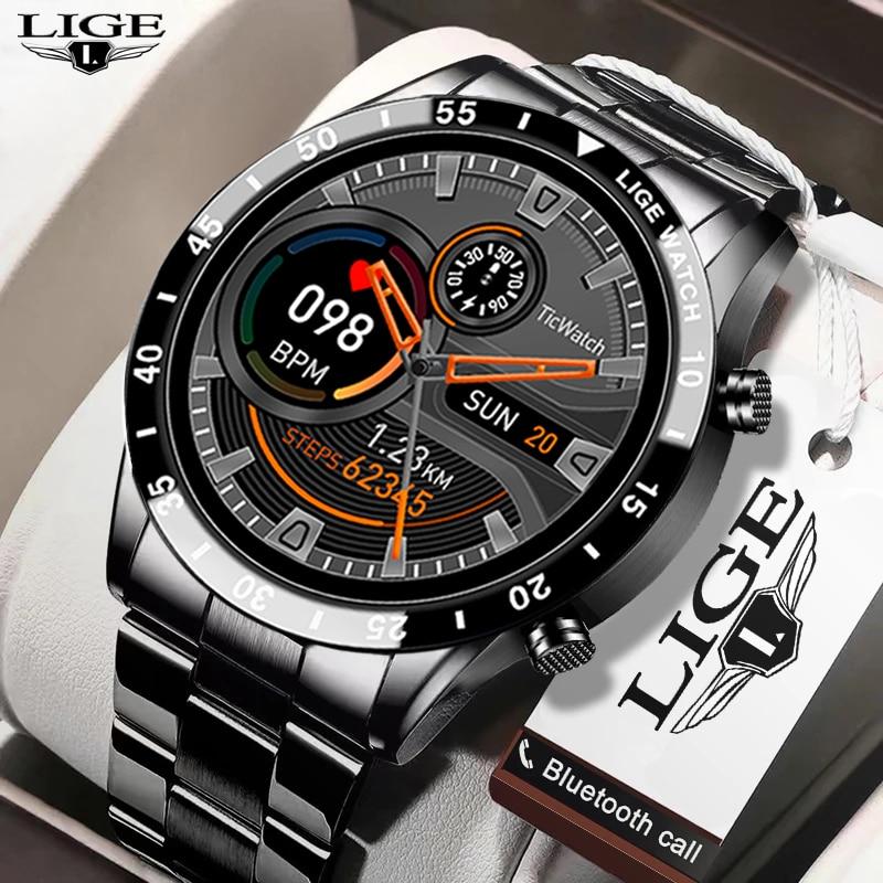 LIGE New Men Smart watch Heart rate Blood pressure IP68 waterproof sports...