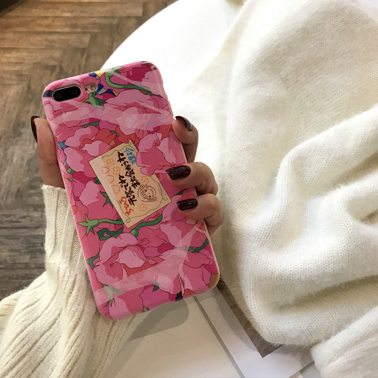 <font><b>Kawaii</b></font> Japanese Pink Flowers <font><b>Phone</b></font> <font><b>Case</b></font> For <font><b>iPhone</b></font> <font><b>7</b></font> 8 Puls 6 6S Puls X <font><b>Cases</b></font> Soft Silicone Back Cover Coque Fundas Capa image