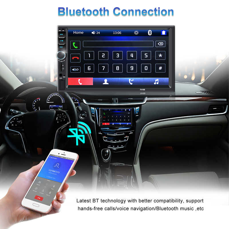 車の家族 2 喧騒車のラジオ MP5 プレーヤーミラーリンク一般モデル 7 ''インチ Hd タッチスクリーンの Bluetooth 自動ステレオリアビューカメラ