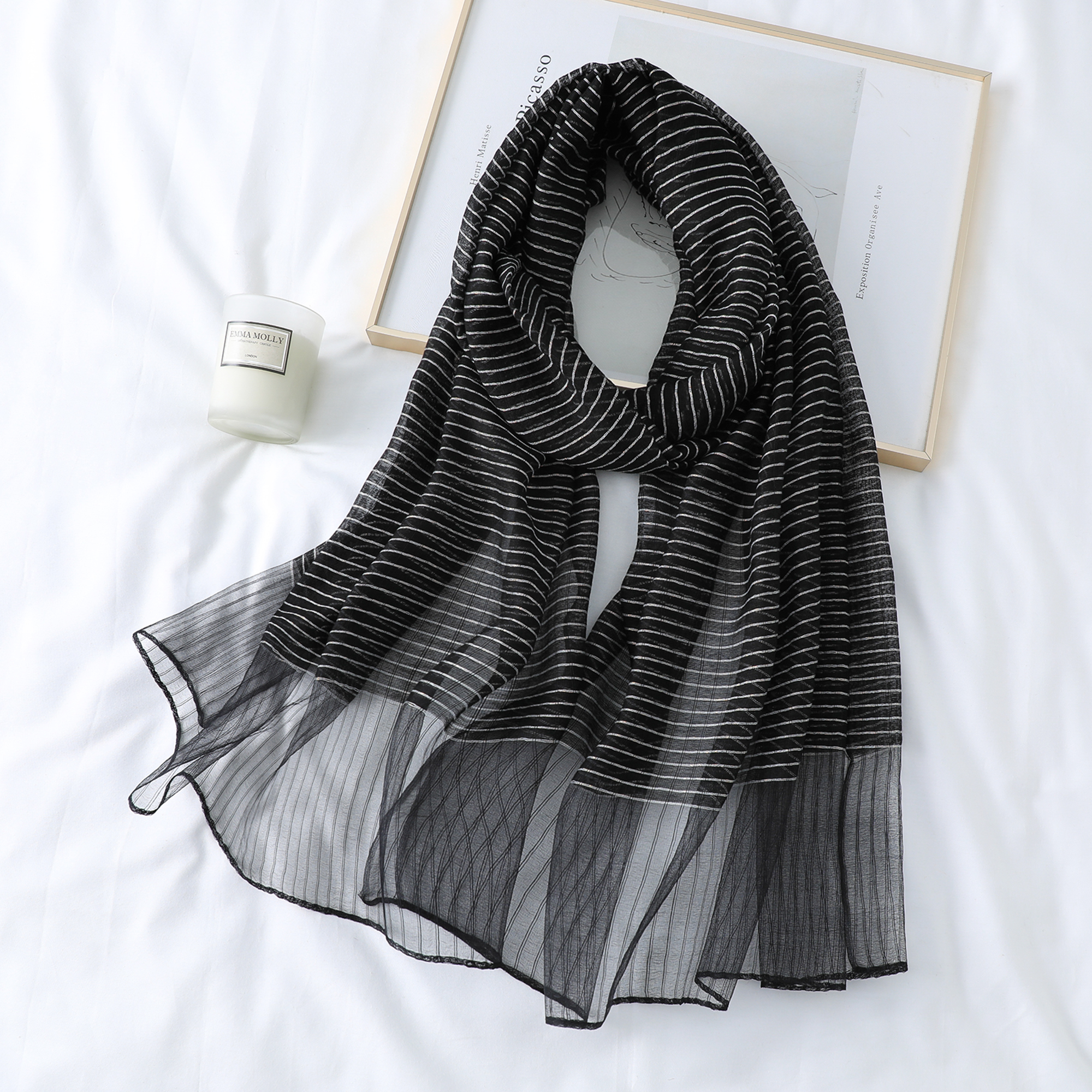 Spring Autumn Silk Scarf Women Soft Shawls Fashion Bandana Ladies Shawl  Female Rectangle Pashmina Plaid Blanket