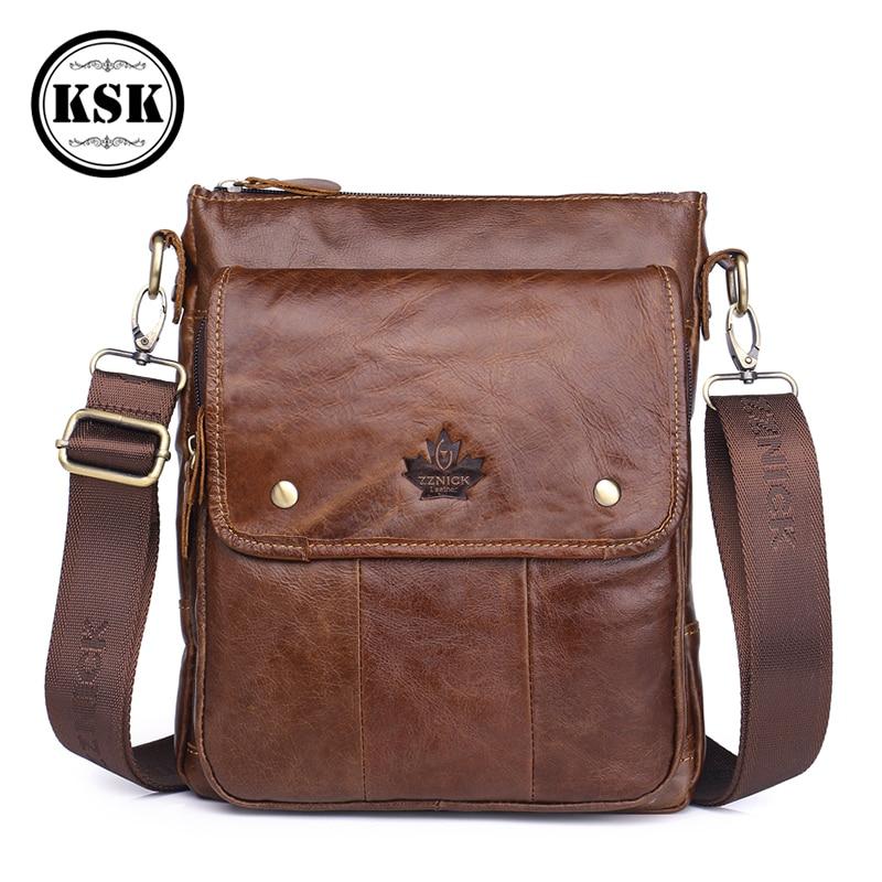 Men's Genuine Leather Bag Messenger Bag High Quality Luxury Shoulder Bags For Men 2019 Fashion Flap Leather Crossbody Bags KSK