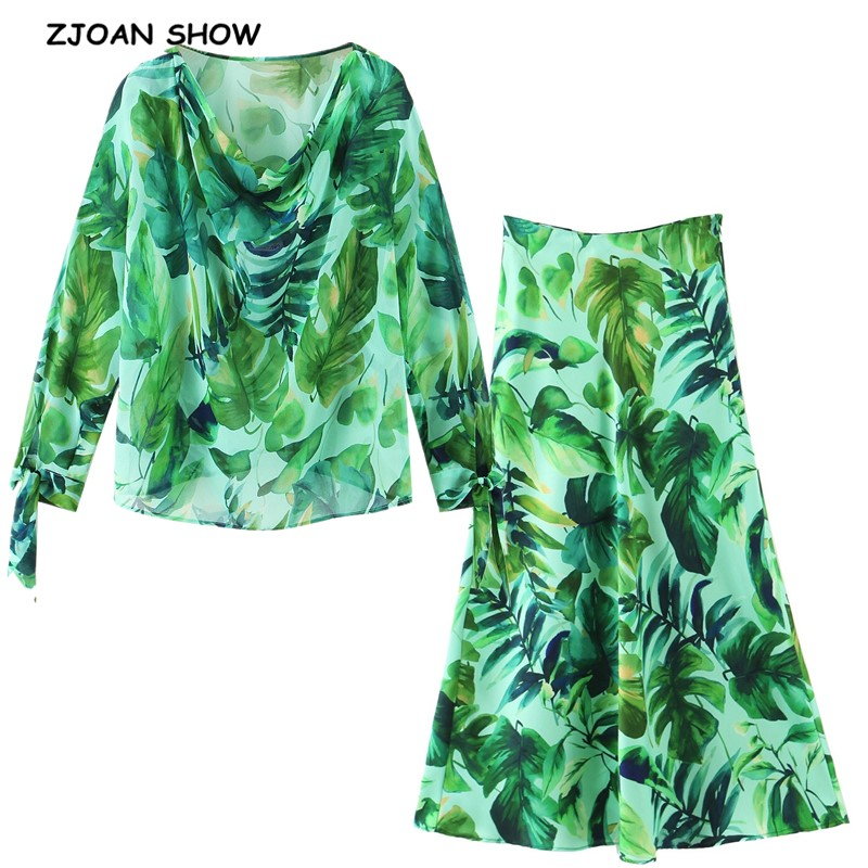 2020 Chic Green Rain forest Leaves Print Chiffon Shirt Women High Waist Long Skirt Long Sleeve Blouse Holiday 2 Pieces Set(China)