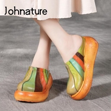 Shoes Slides Slippers Wedges Platform Outside-Wear Genuine-Leather Summer Women Johnature