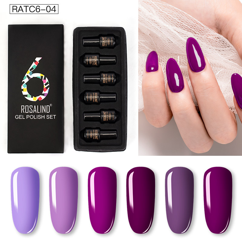 ROSALIND Gel Nail Polish Set Solid Color Nail Kit For Manicure Vernis Semi Permanent 7ML Gel Kit Top And Base All For Manicure 19