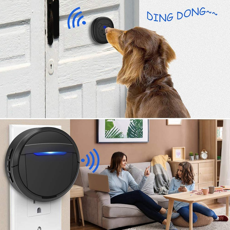 Dog Doorbell, Black & White Wireless Communication Doorbell , Waterproof Smart Bell for Puppies with Super-Light Press Button, I-4