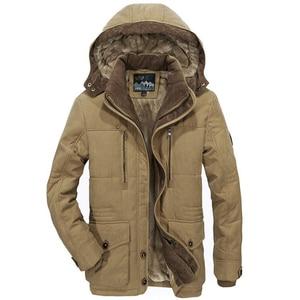 Image 1 - Chaqueta gruesa de lana para hombre, abrigo de invierno, abrigo informal a prueba de viento con capucha, Parkas militares de talla grande 6XL 7XL
