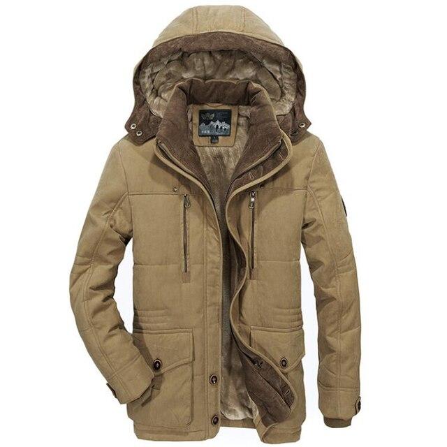 Chaqueta gruesa de lana para hombre, abrigo de invierno, abrigo informal a prueba de viento con capucha, Parkas militares de talla grande 6XL 7XL