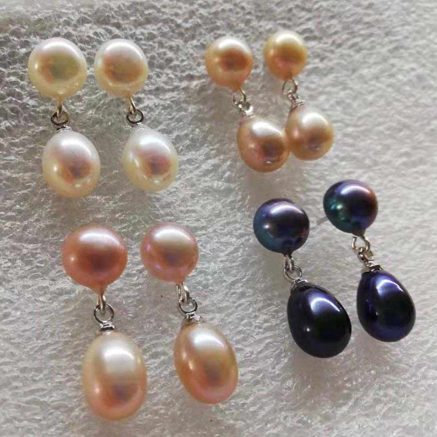 7-8mm Peacock Green Freshwater Cultured Pearl Earrings Beads Ear Studs Jewelry