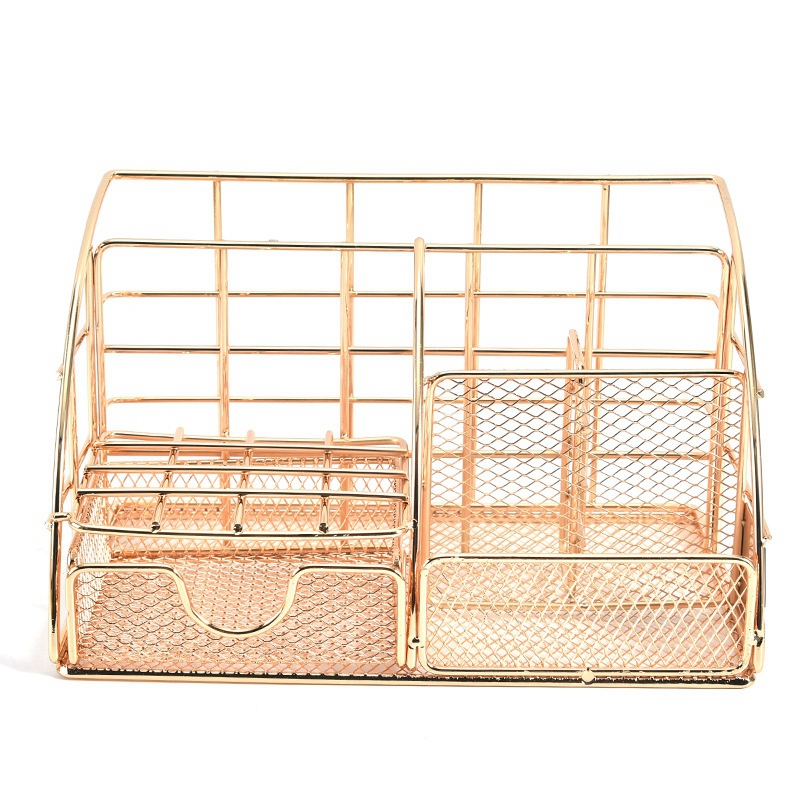 Golden Desk Organizer For Women, Mesh Office Supplies Desk Accessories, Features 5 Compartments + 1 Mini Sliding Drawer