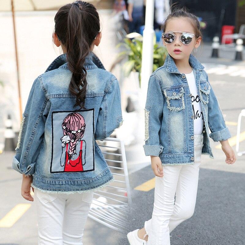Yorkzaler Spring Autumn Girl Jacket 2018 Printed Cartoon Girl Children's Jeans Outerwear Sequins Little Beauty Design Kids Coats