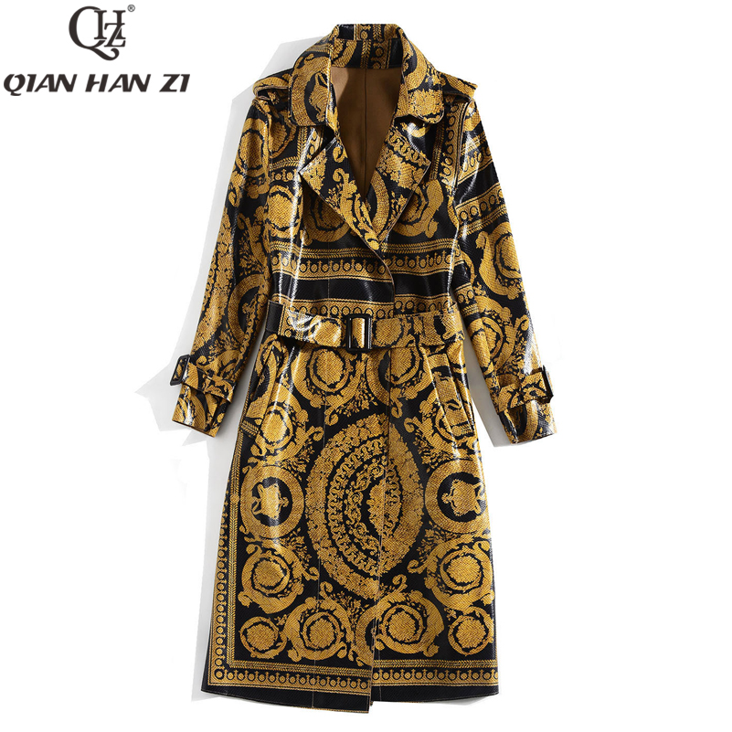 Qian Han Zi Newest Autumn Runway Fashion Long Coat Women Long Sleeve Vintage Pattern Print Belt Bright Leather Trench Coat