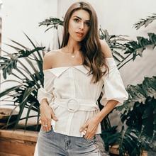 купить Off shoulder buttons women shirt blouse Summer lantern sleeve sashes cotton blouse female Casual vintage tops and blouse по цене 814.79 рублей