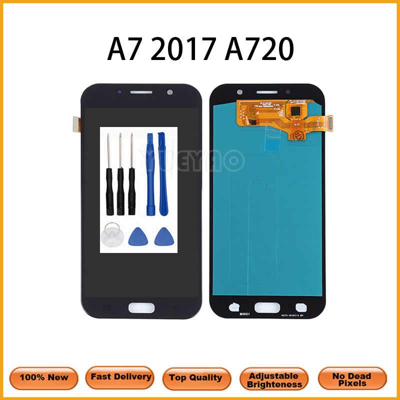 <font><b>LCD</b></font> For <font><b>Samsung</b></font> Galaxy A7 2017 <font><b>A720</b></font> A720F SM-A720F <font><b>LCD</b></font> Display Touch Screen Digitizer Assembly For SM <font><b>A720</b></font> Screen image
