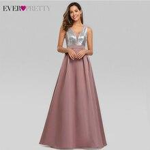 חדש שמלות נשף ארוך 2020 פעם די V צוואר נצנצים אונליין Vestido Formatura נשים סקסי ללא משענת ללא שרוולים פורמליות מפלגה שמלה