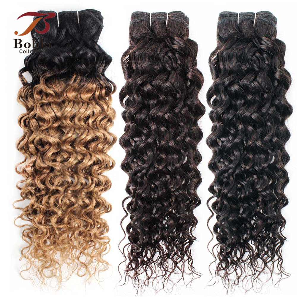 Bobbi Collection 1 Bundle T 1B 27 Ombre Honey Blonde Brazilian Water Wave Hair Weave 10 24 inch Non Remy Human Hair ExtensionHair Weaves   -