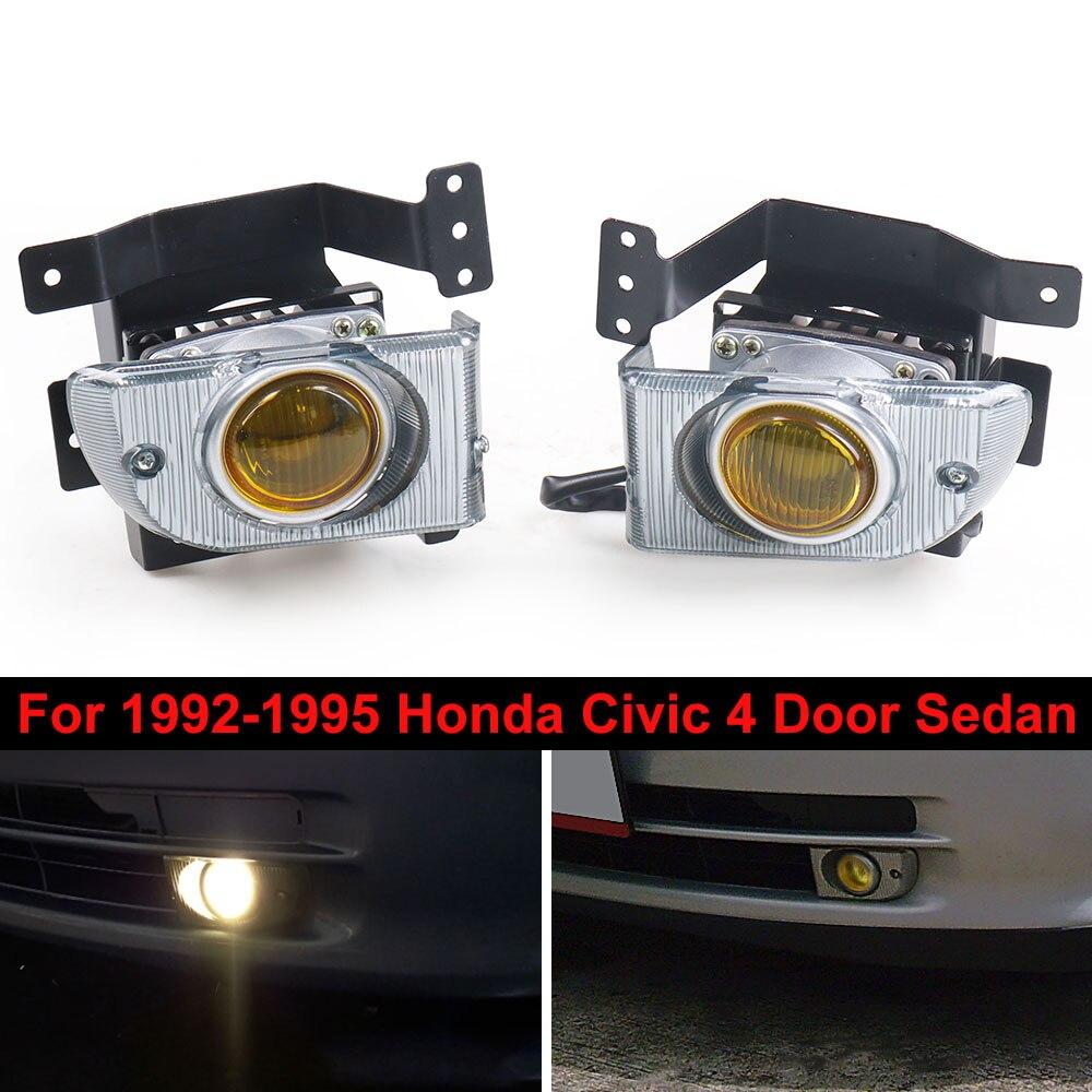 Fog Lights Fog Lamps For 1992-1995 Honda Civic 4D Sedan Driving  Driving Lamp Switch Kit