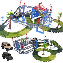 Railway Magical Racing Track Play Set DIY Bend Flexible Glowing Race Army Flash Track Car Educational Military Toys For Children(China)