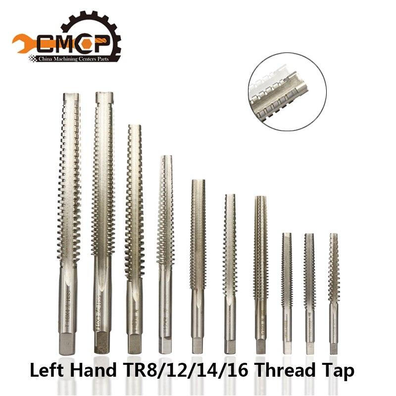 Alta qualidade tr8/10/12/14/16 trapezoidal thread tap hss máquina parafuso torneira da mão esquerda métrica mchine torneiras parafuso brocas