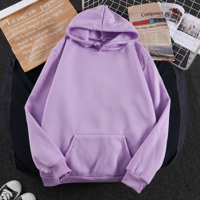 Women Solid Color Oversize Hoodie 2020 Harajuku Plus Velvet Winter Basic Sweatshirt Casual Long Sleeve Thicken Hooded Tops Hoody 1