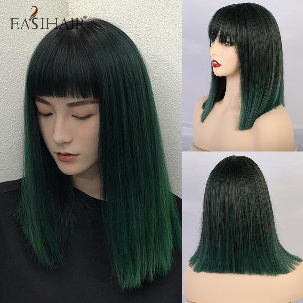 EASIHAIR Medium Dark Green Ombre Synthetic Wigs With Bangs For Women Straight Hair Bob Wigs Wavy Heat Resistant Cosplay Wigs