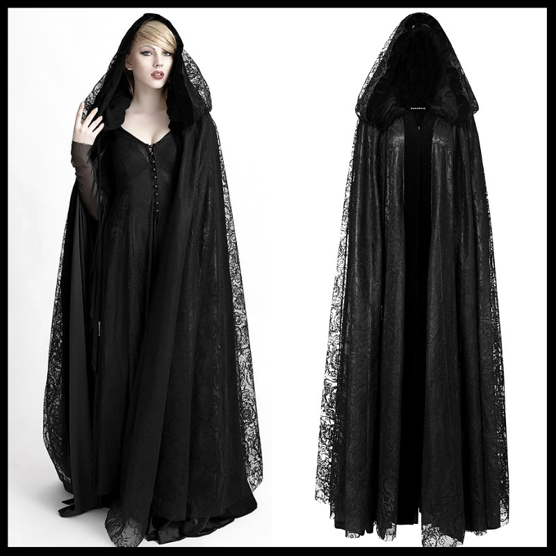 Satin Coat Cape Floor Length Halloween Gothic Vampire Hooded Witch Robe Cloak
