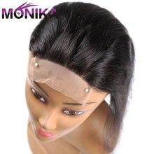 Monika 4x4 закрытие бразильские Прямые Закрытие 100% человеческие волосы закрытие свободный/средний/3 части верхнее закрытие кружева 22 дюйма Non Remy волосы