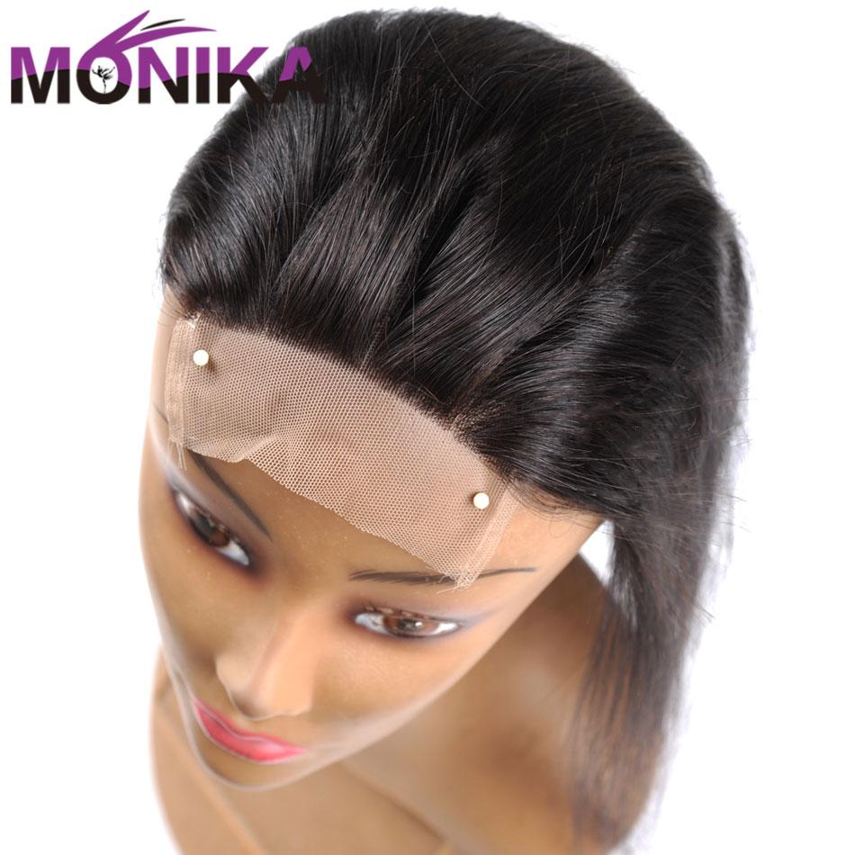 Monika 4x4 закрытие бразильские Прямые Закрытие 100% человеческие волосы закрытие свободный/средний/3 части верхнее закрытие кружева 22 дюйма Non-Remy...
