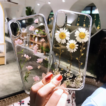Prawdziwe suszone kwiaty brokat przezroczysty futerał na telefon dla IPhone 8 7 Plus 12 11 Pro Max 6s X XS XR epoksydowa stokrotka przezroczysty miękki TPU okładka tanie i dobre opinie GIMFUN APPLE CN (pochodzenie) Bumper glitter Real Dried Flowers case Zwykły przezroczyste W stylu rysunkowym multi-color