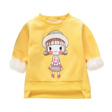 Baby Girls Sweatshirts Children Clothing Autumn And Winter Baby Girl Thick Cotton Tops Kids Cute Cartoon Boy Clothes 2018 autumn winter baby boy clothes girls bear owl pattern kids cartoon sweaters boys clothing girls clothing thick warm