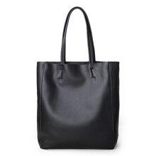 Bolso Casual de cuero genuino para mujer, bolso de mano femenino de lujo, a la moda, sencillo, de cuero de vaca, para uso diario, bolso de hombro tipo shopper