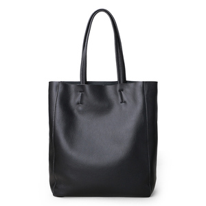 Image 1 - Genuine Leather Bag Women Casual Tote Female Luxury Simple Fashion Handbag Lady Cowhide Leather Daily Use Shoulder Shopping Bag