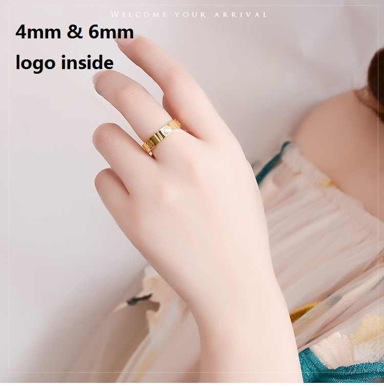 Nowy 4MM 6MM kryształ tytanu stali klasyczny ze stali nierdzewnej pierścienie złoty wypełniony ślub miłość pierścień dla kobiet