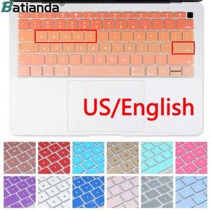 Teclado de silicone capa para macbook novo ar 13 com retina display & touch id modelo a1932 2018 2019 eua entrar inglês alfabeto