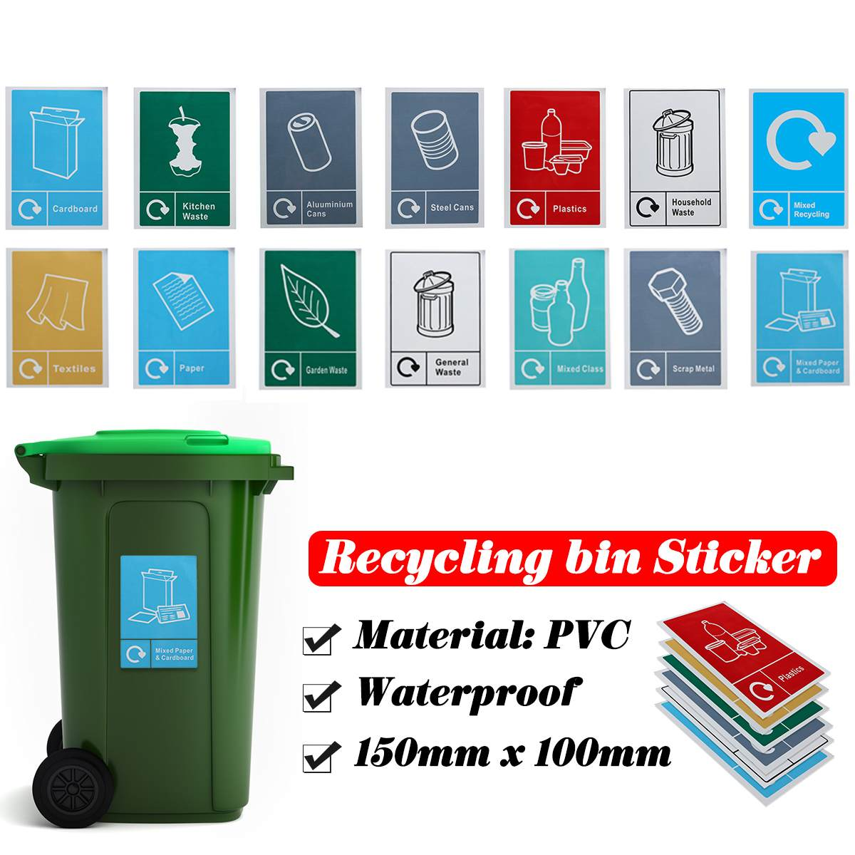 Classification Sign Recycle Bin Trash Bin Stickers Recycling Sticker Waste Signage General Waste Logo Garbage Litter Bucket Can