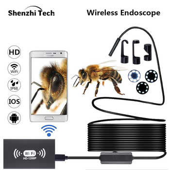 WIFI Endoscope Camera IP68 Waterproof Inspection Borescope 2MP 1200P HD Soft Cable Hard Cable With 8 LED For iOS Android