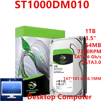 """New HDD For Seagate Brand BarraCuda 1TB 3.5"""" SATA 6 Gb/s 64MB 7200RPM For Internal Hard Disk For DesktopHDD For ST1000DM010"""