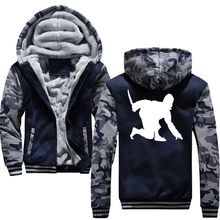 Novelty Crouched Ninja And Dagger Winter Thick Warm Male Hoodies Sweatshirts For Men Zipper Brand Casual Sportswear(China)