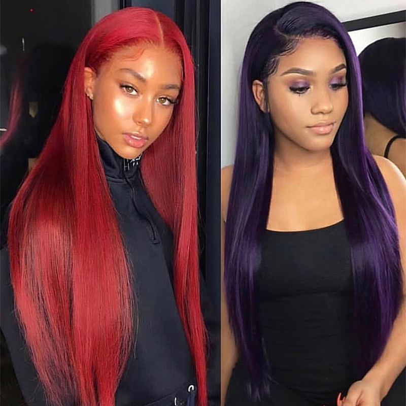 BETTYLOVE Long Straight Fiber Hair Lace Wigs For Women Red Synthetic Lace Front Wig Dark Purple Color Heat Resistant Wigs