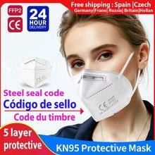 2-100 pces kn95 máscara facial mascarillas respirador máscara fpp2 aprovado reutilizável eliminação ce cobre boca máscara facial adulto n95