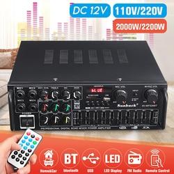 5,0 bluetooth, 1 canal, 2000W de potencia de Audio amplificador HiFi 326BT DC 12 V/220 V AV Amp con Control remoto 4 Micro entrada