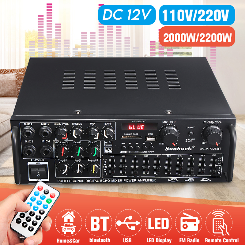 5.0 bluetooth 2 Channel 2000W Audio Power <font><b>HiFi</b></font> <font><b>Amplifier</b></font> 326BT DC 12V/220V AV Amp Speaker with Remote Control 4 Micro input image
