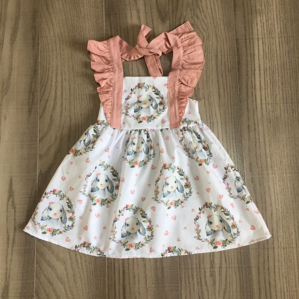 Baby Girls Easter Dress Girls Slip Dress With Bunny Print Girls Summer Dress