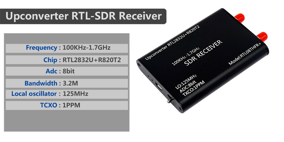 R820T2 SDR Radio RTL08THFR SDR 1PPM TXCO RTL-SDR Ricevitore RTL2832U Fauge Upconverter 100KHz-1.7GHz
