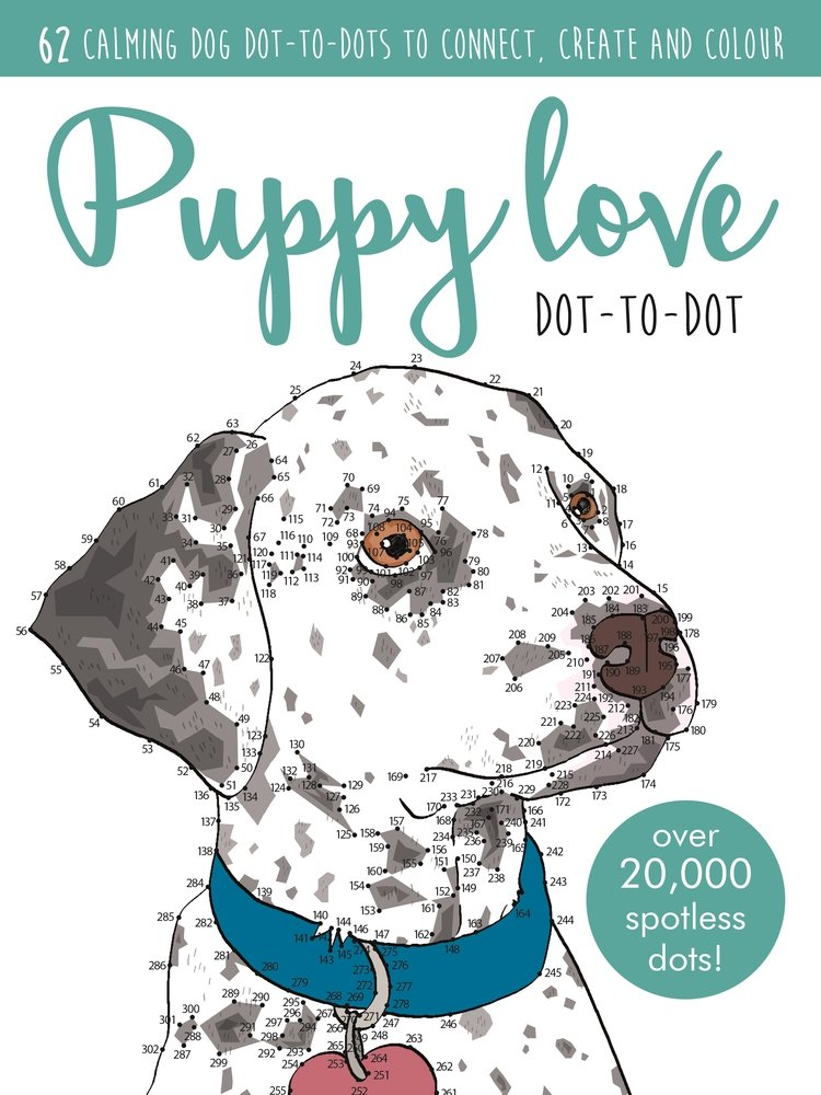 Puppy Love Dot-to-Dot (Adult Colouring/Activity)-stress Relax