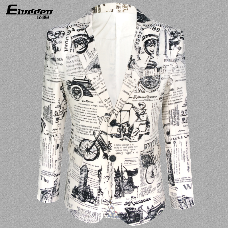 Personality Newspaper Print Performance Dress Man Singer Wedding Dress Men's Nightclub Bar DJ Suit Mens Blazer