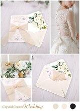 100 sztuk zaproszenia ślubne, Baby Shower zaprosić, urodziny, kolacja zaprasza, różowa kieszeń z kwiatem