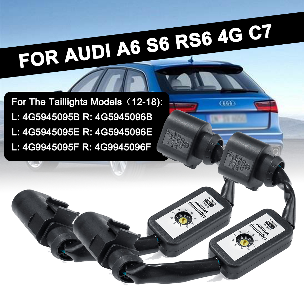 For <font><b>AUDI</b></font> <font><b>A6</b></font> S6 RS6 4G C7 2X Dynamic Turn Signal Indicator LED Taillight Add-on Module Cable Wire Harness Left&Right Tail Light image