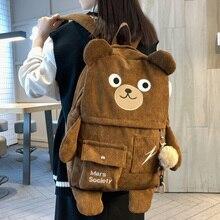 DCIMOR New Corduroy Cute Bear Women Backpack Female Embroidery Big Winter Schoolbag Multi-pocket Travel Bag for Teenage Girls